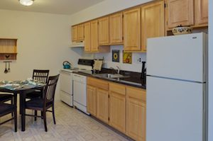 Kitchen in West Deptford apartment with wooden cabinets and white refrigerator.