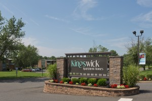 Entrance sign to Kingswick Apartments in West Deptford