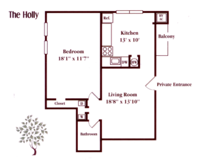 floor plan for a one bedroom apartment at Kingswick apartments