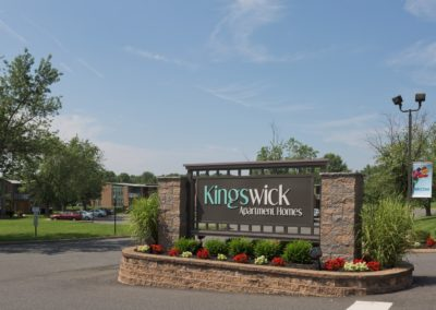 Entrance sign for Kingswick Apartments in West Deptford, NJ