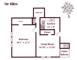 one bedroom apartment floor plan at West Deptford, NJ apartment