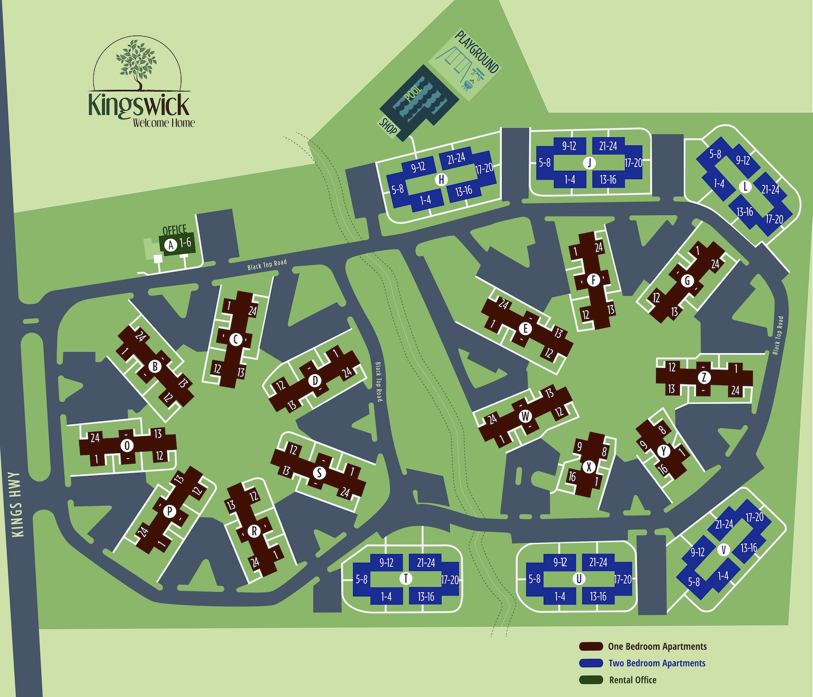 Map view of Kingswick Apartment community in West Deptford, NJ