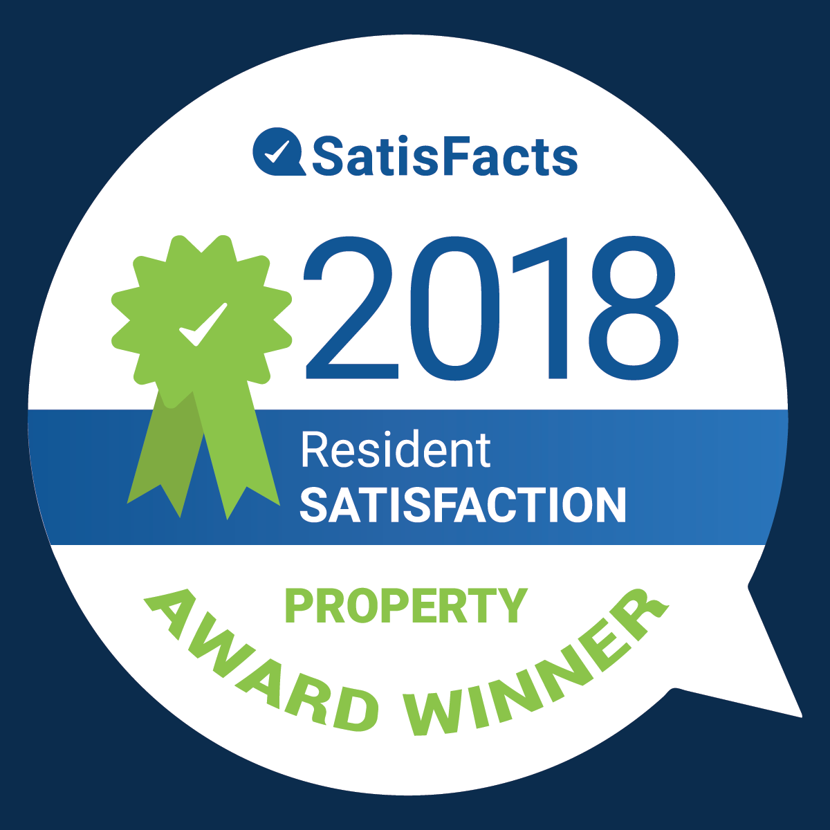 Badge showing that Kingswick Apartments is top rated for 2018 by apartmentratings.com
